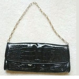 Black faux croc purse chain convertible to clutch